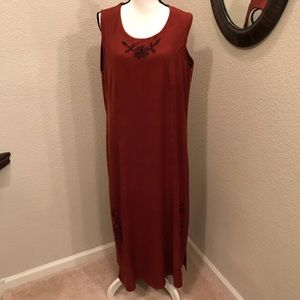 MPH Embroidered Shift Dress Size 2X Rust Color